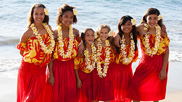 girls on the beach in hawaiian dresses