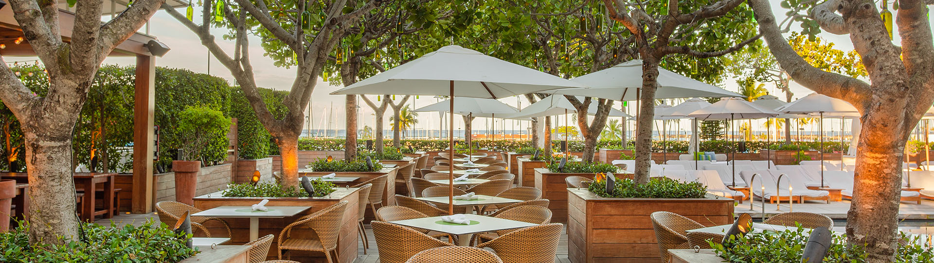 The Grove Restaurant offers a row of outdoor dining tables and chairs overlook the Waikiki Beach Marina