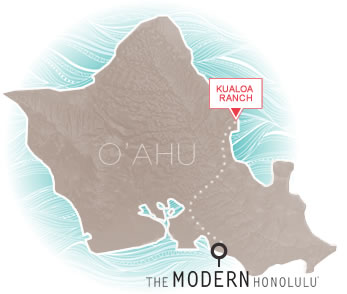 Kualoa Ranch | The Modern Honolulu on h-1 freeway map, valley of the temples map, bellows air force station map, halona blowhole map, old pali road map, oahu map, kaaawa valley map, waimea valley map, kona airport map, honolulu map, kailua map, iolani palace map, oregon convention center map, polynesian cultural center map, parker ranch map, kingdom of hawaii map, chinaman's hat map, niihau map, hawaii convention center map,